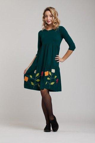 Rochie verde Amber cu aplicatie florala