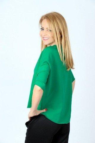 Bluza din bumbac verde asimetrica imprimeu pisica