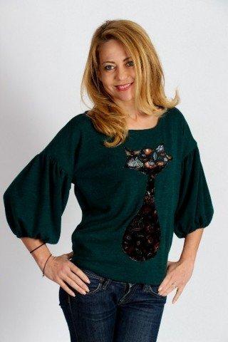 Pullover verde inchis cu maneca clopot si aplicatie