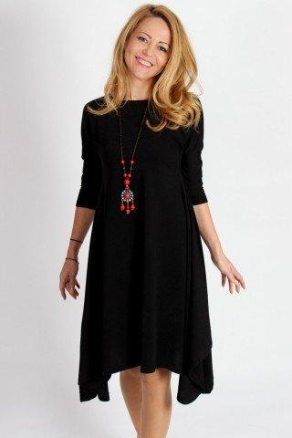 Rochie neagra din jerse cu colturi exagerate