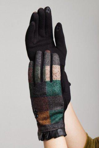 Manusi elegante imprimeu multicolor insertie piele eco