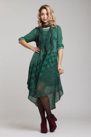 Rochie verde inchis trei piese Odesea cu trena