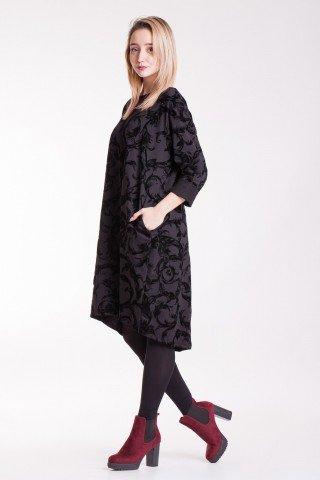 Rochie neagra cu imprimeu floral din catifea Alma