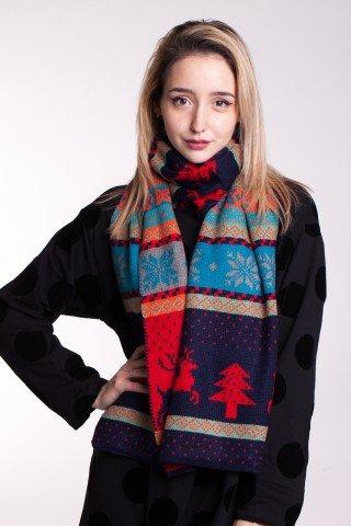 Fular multicolor cu motive de iarna