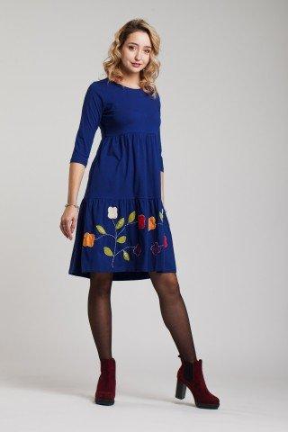 Rochie albastra Amber cu aplicatie florala