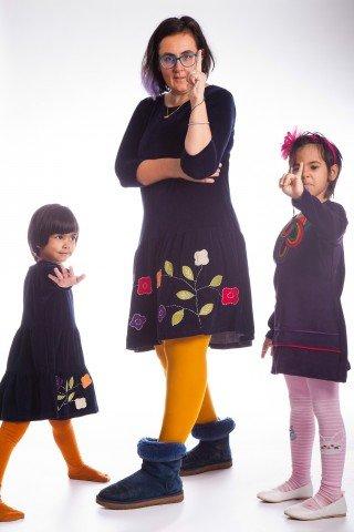Set rochii din catifea bleumarin Mama si Fiica