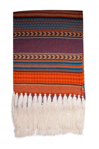 Fular tricotat imprimeu maro cu ciucuri
