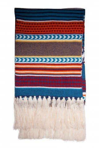 Fular tricotat imprimeu albastru cu ciucuri