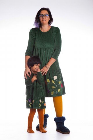 Set rochii verzi din catifea Mama si Fiica