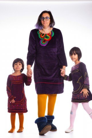 Set rochii Afrodita din catifea mov Mama si Fiica