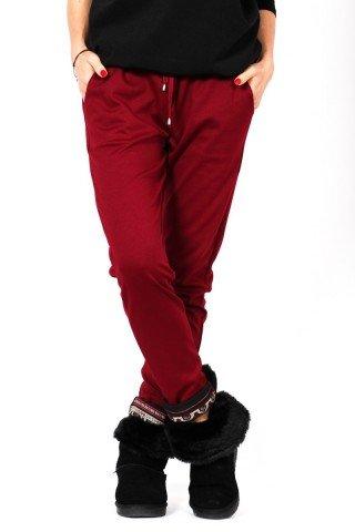 Pantaloni grena cu manseta etno