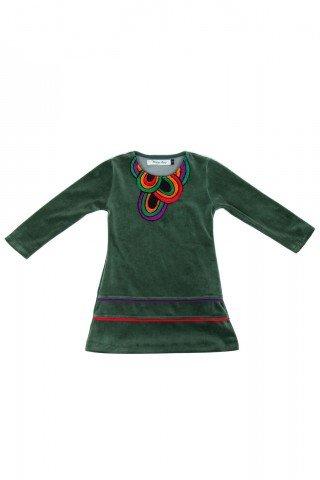 Rochie verde din catifea Afrodita Kids