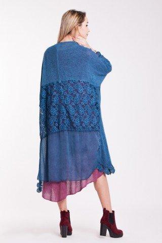 Cardigan albastru cu insertie din dantela florala