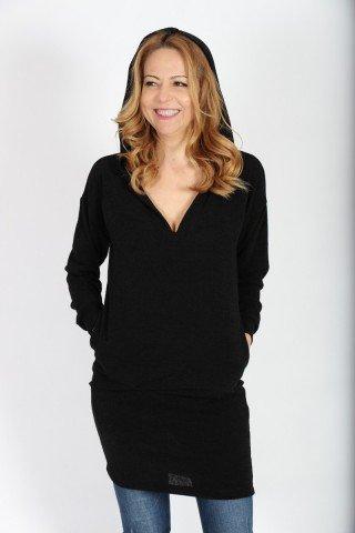 Rochie tricotata neagra cu gluga