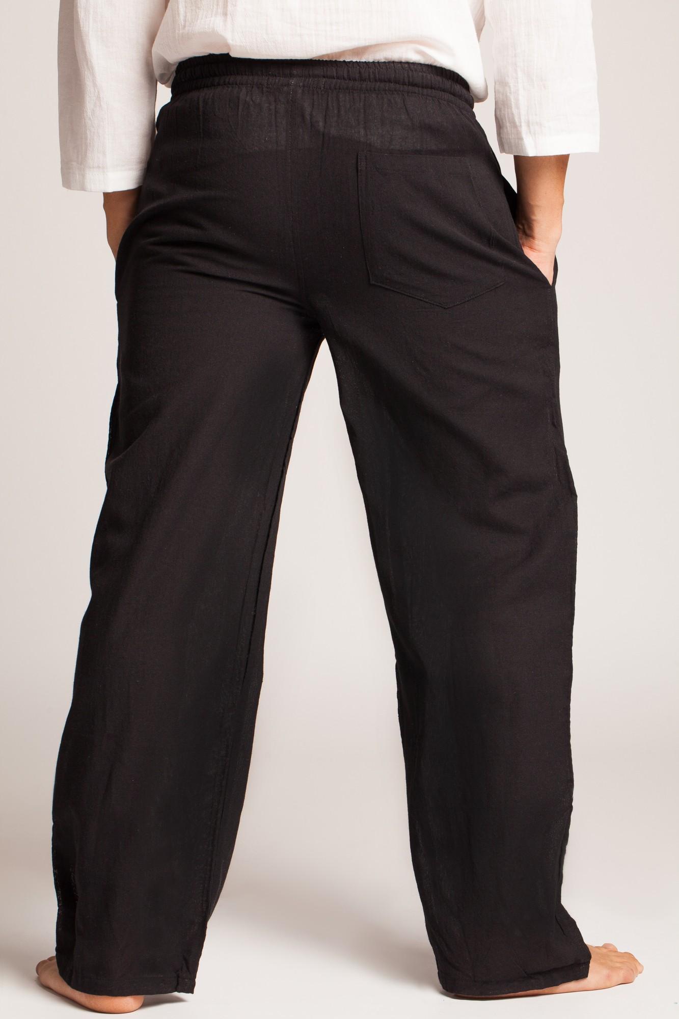 Pantaloni negri din bumbac cu elastic si snur reglabil