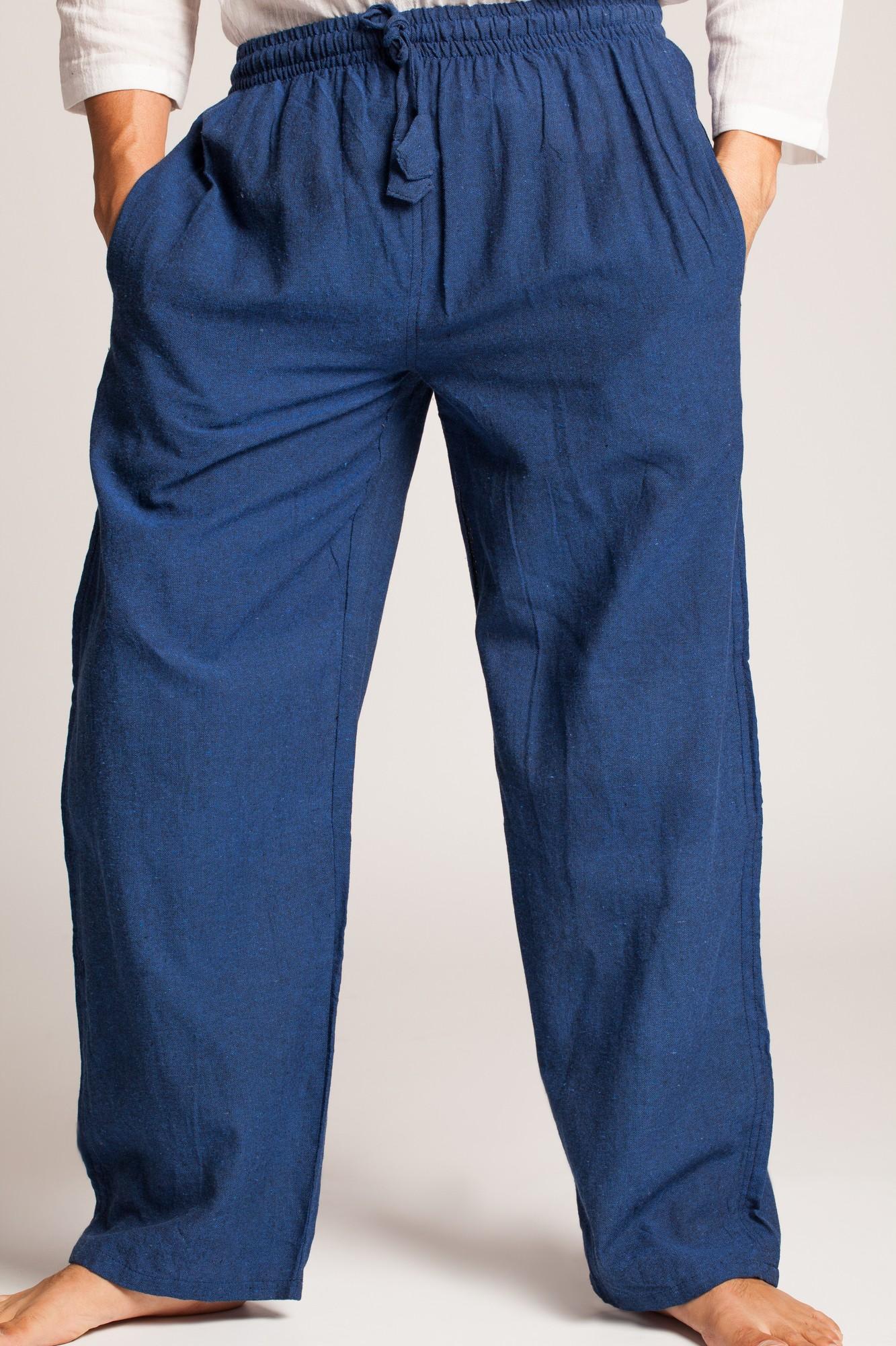 Pantaloni albastri din bumbac cu elastic si buzunare