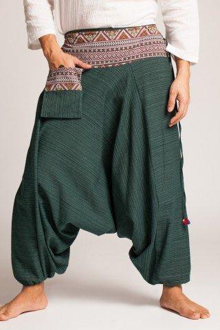Salvari verde inchis texturat cu brau si buzunar cu motive etnice