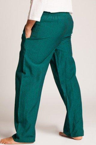 Pantaloni verzi din bumbac cu elastic si buzunare