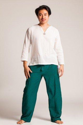 Pantaloni verzi cu elastic si motive multicolore etnice