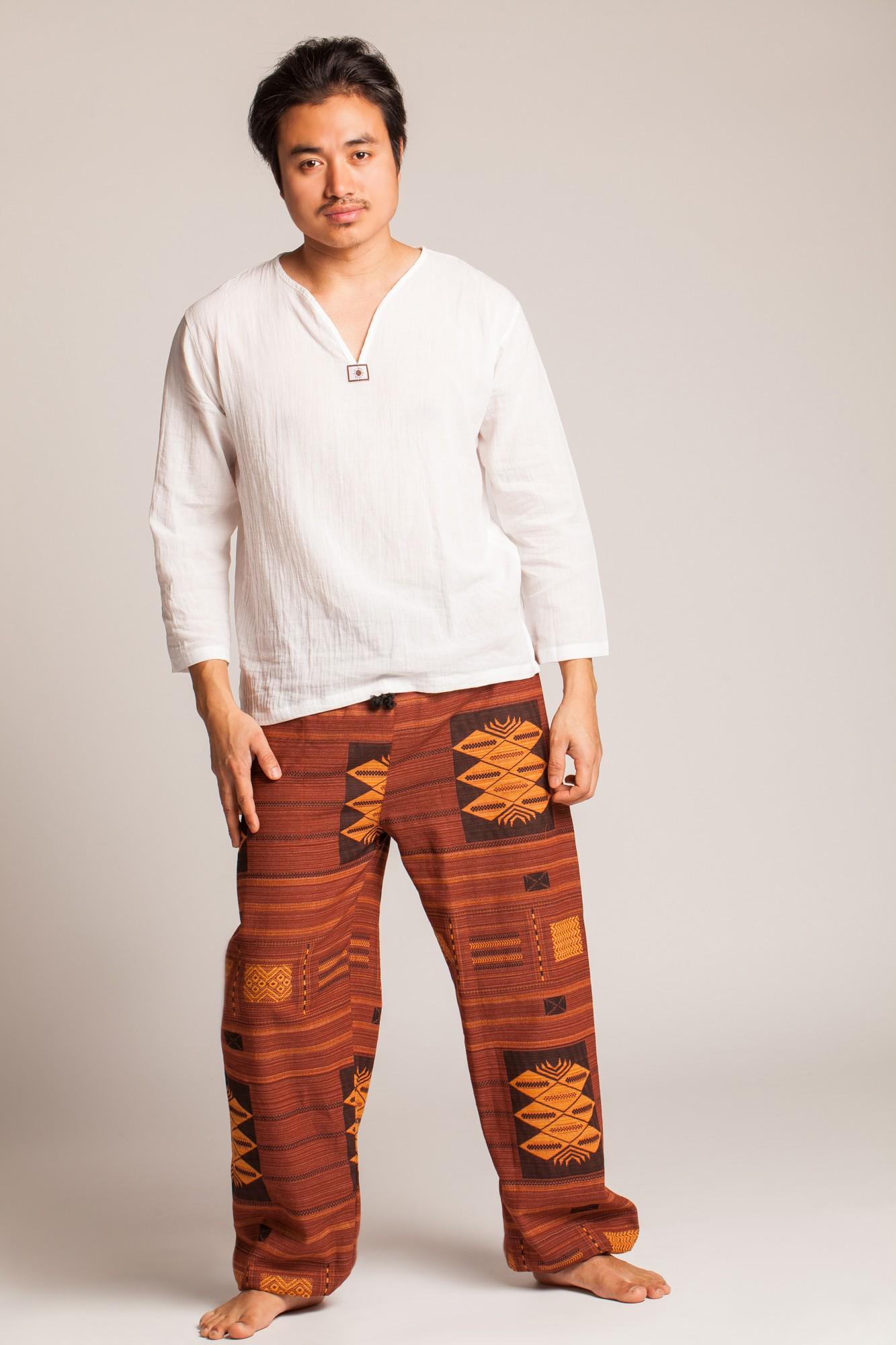 Pantaloni Thai din bumbac maro si galben cu motive etnice