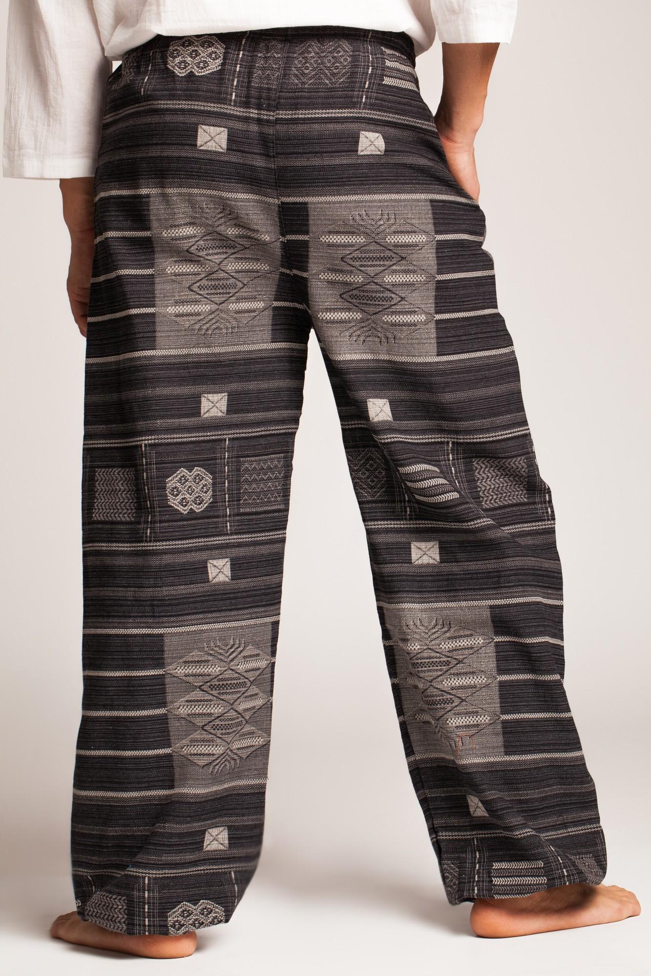 Pantaloni gri cu motive etnice Thai
