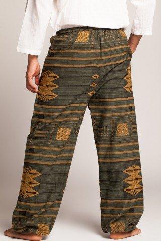 Pantaloni Thai verde inchis cu motive etnice galbene