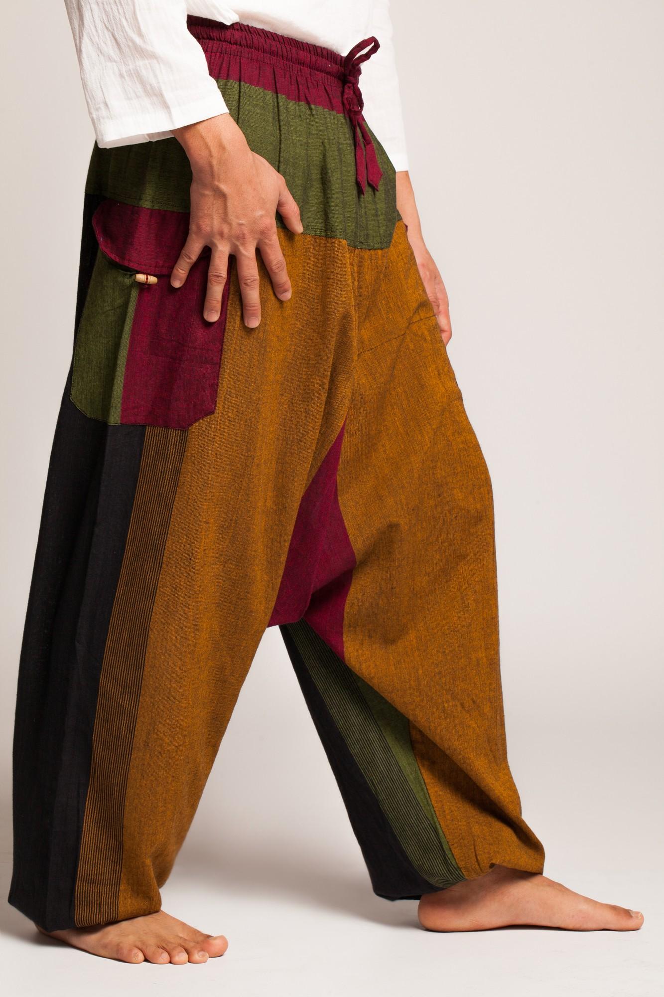 Salvari unisex multicolori cu buzunare aplicate cu clapeta