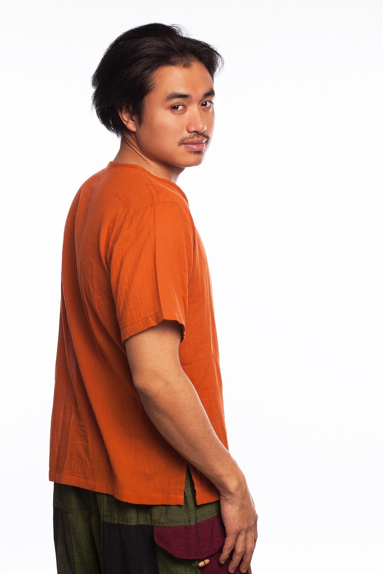 Tricou etnic portocaliu din bumbac