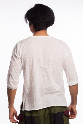 Bluza alba din bumbac cu broderie tribala