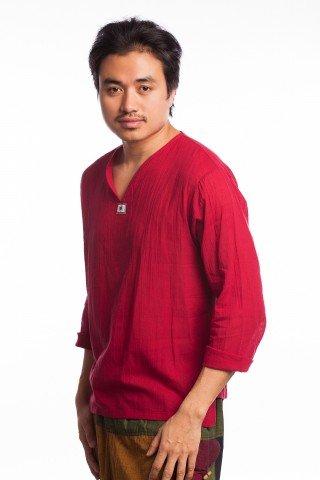 Bluza etnica rosie din bumbac creponat