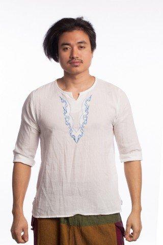 Bluza alba cu broderie tribala albastra