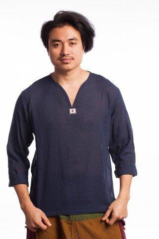 Bluza din bumbac bleumarin creponat