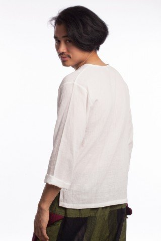 Bluza stil etnic din bumbac alb
