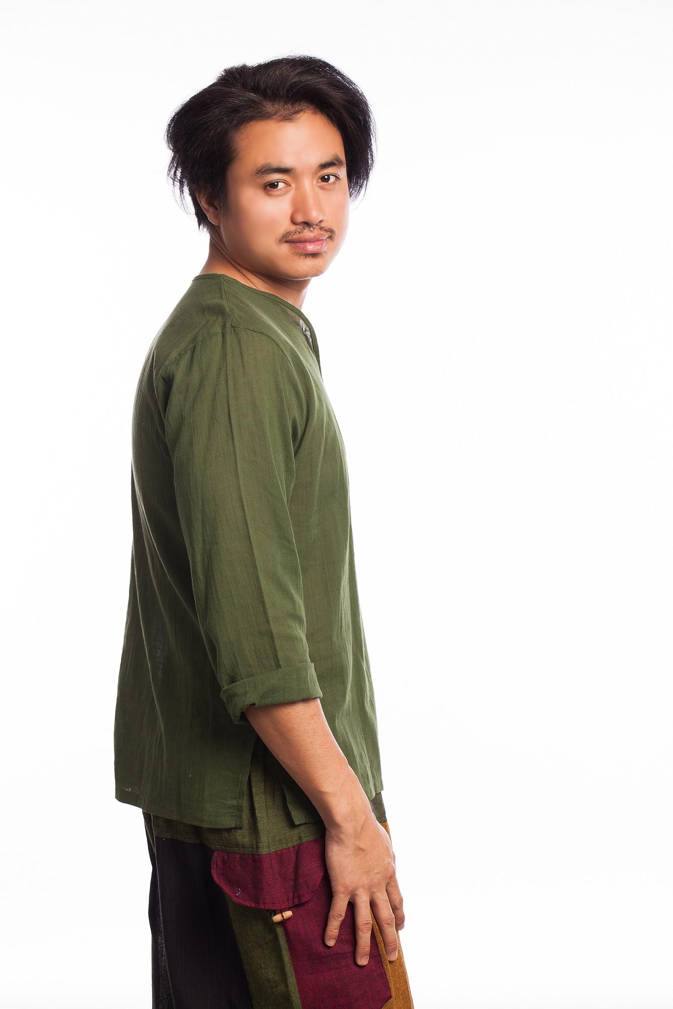 Bluza etnica din bumbac verde kaki