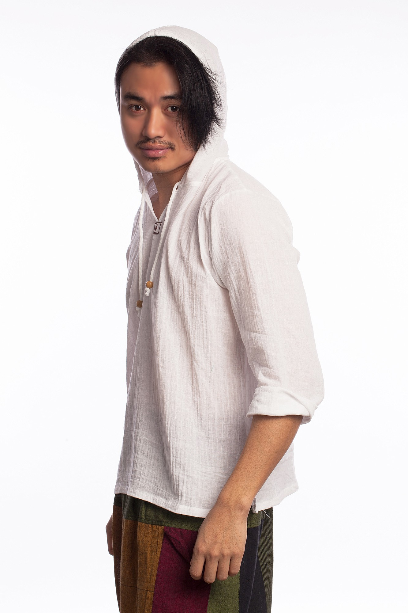 Bluza alba stil etnic cu gluga
