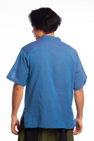 Camasa albastra cu guler stil tunica si nasturi din lemn