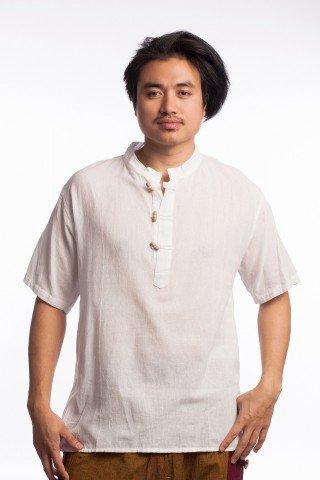 Bluza etnica alba cu nasturi din lemn