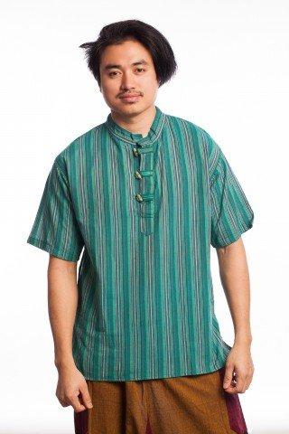 Bluza etnica in dungi cu guler stil tunica
