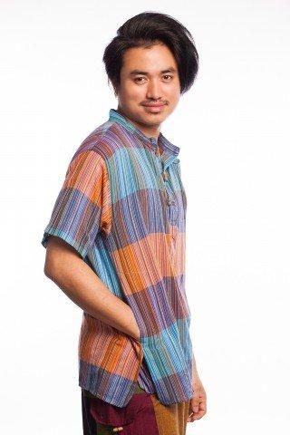 Bluza etnica multicolora cu guler stil tunica