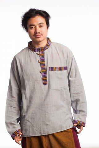 Camasa stil tunica gri cu motive etnice multicolore