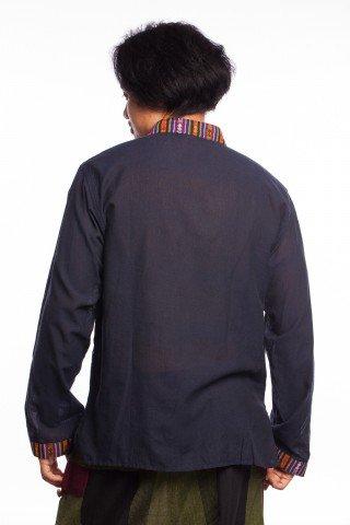 Camasa stil tunica bleumarin cu motive etnice multicolore