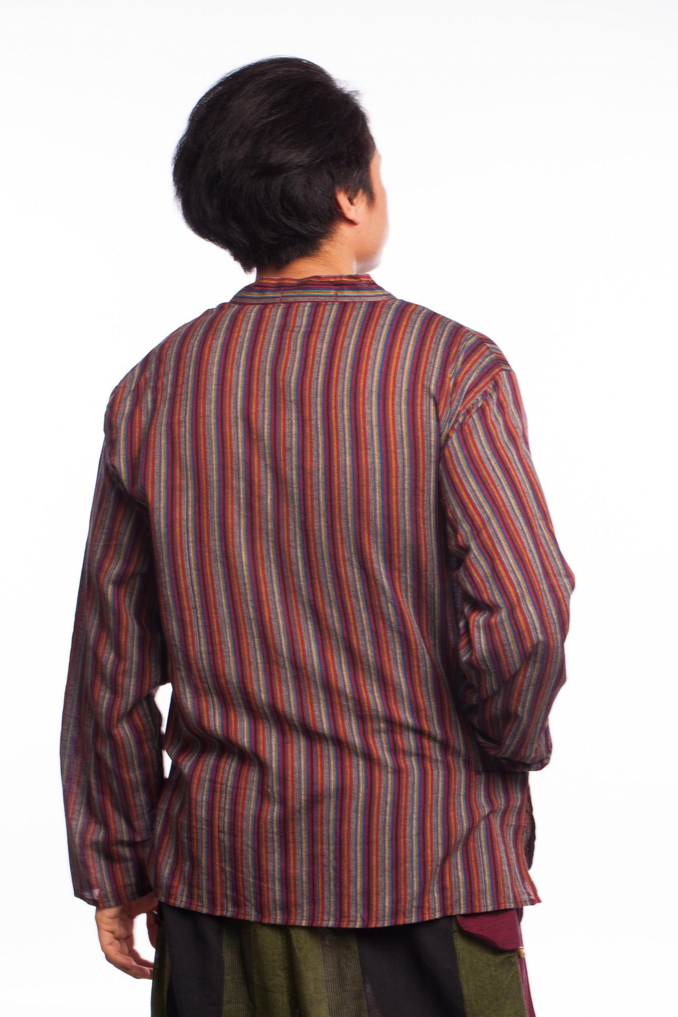 Bluza etnica cu dungi multicolore si maneca lunga