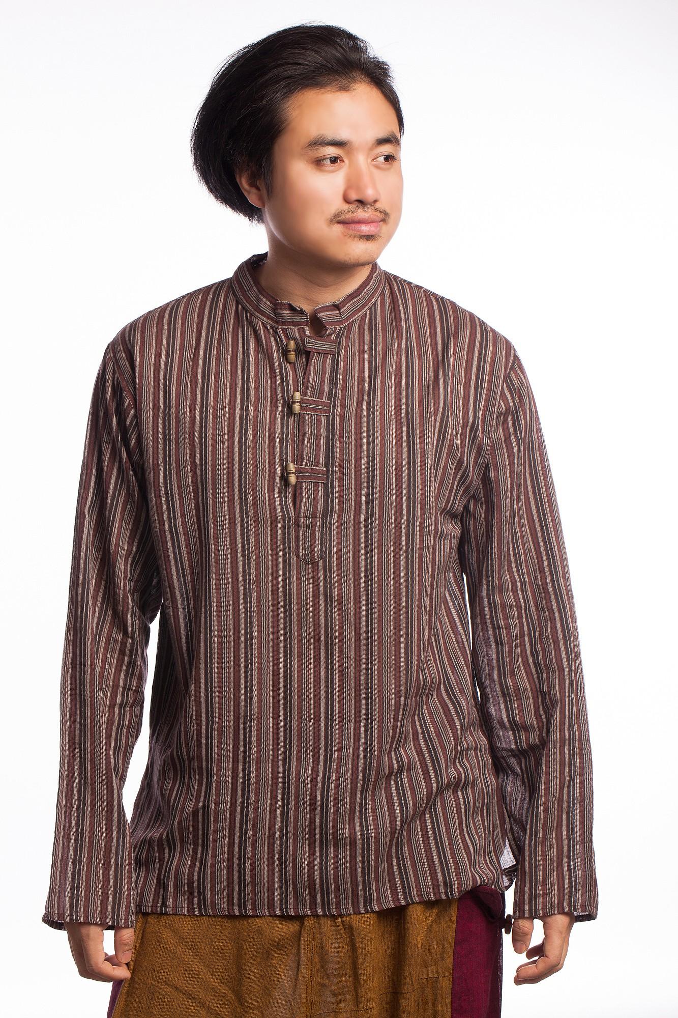 Bluza etnica in dungi de culori inchise si maneca lunga