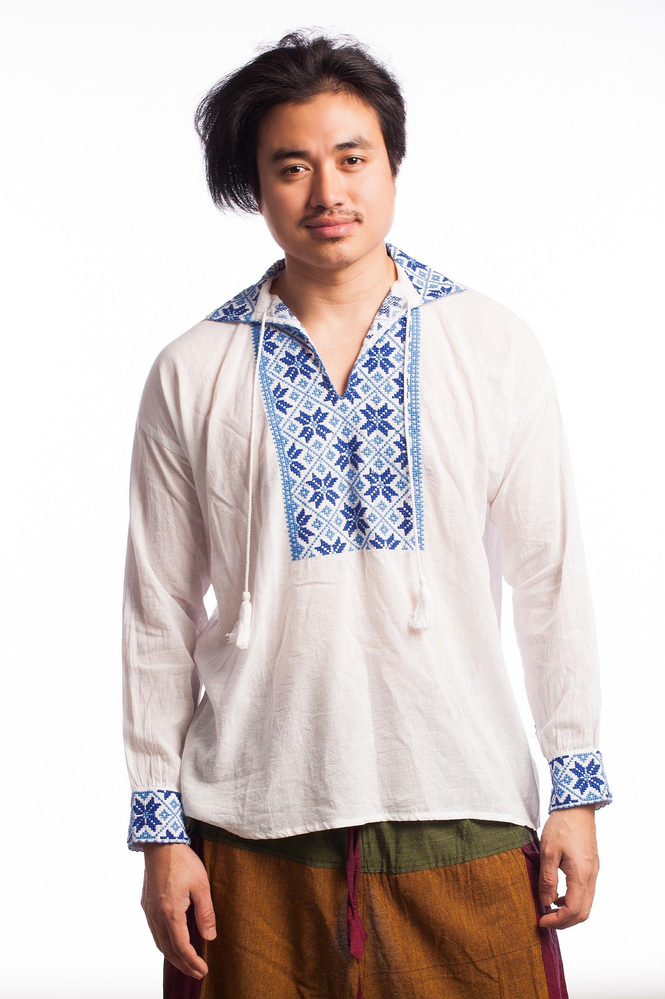 Camasa stil ie din bumbac alb cu motive etnice albastre