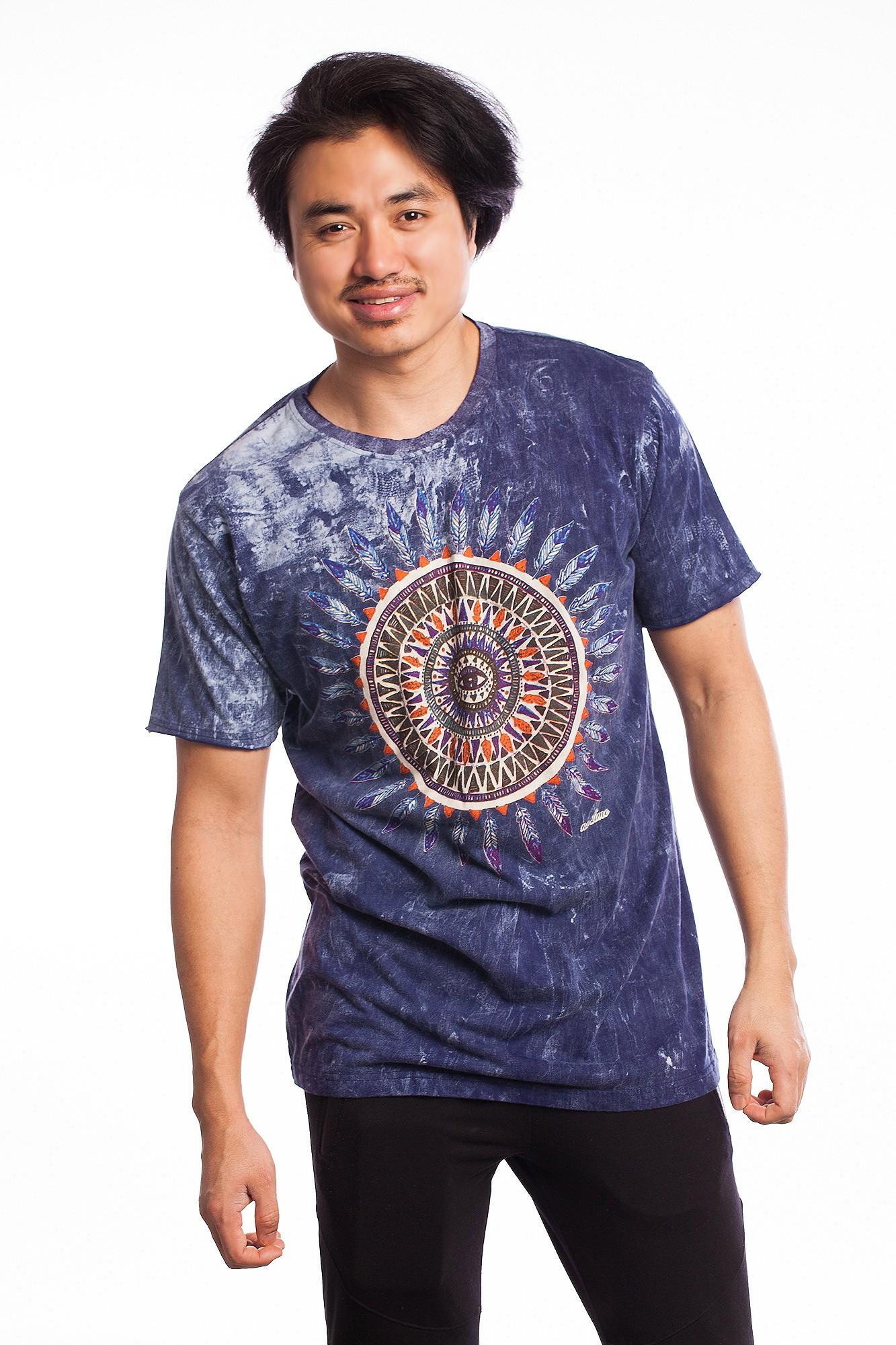 Tricou albastru denim Third Eye Mandala