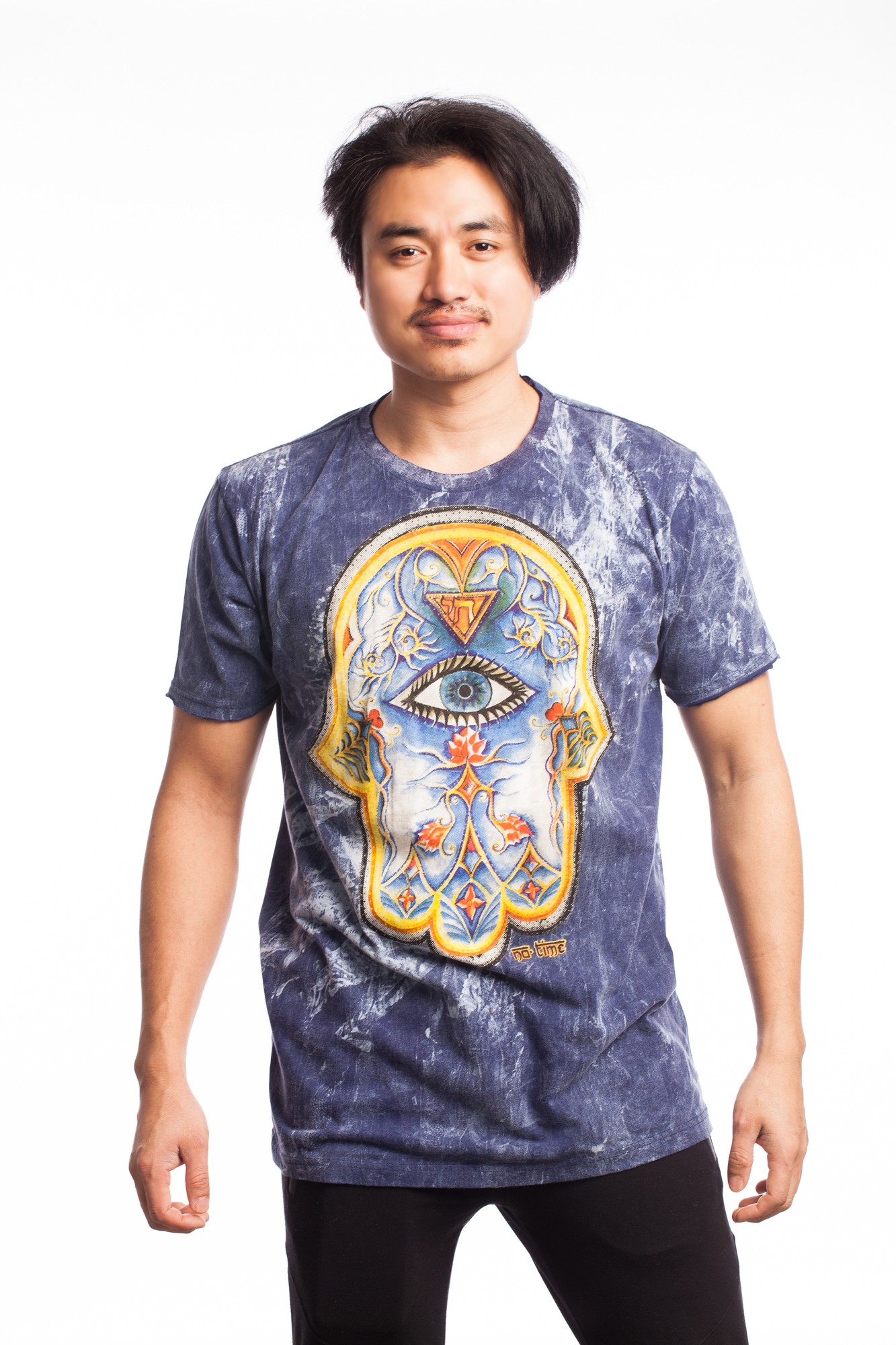 Tricou albastru denim Hamsa multicolora