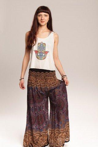 Pantalon maro cu mandale si flori