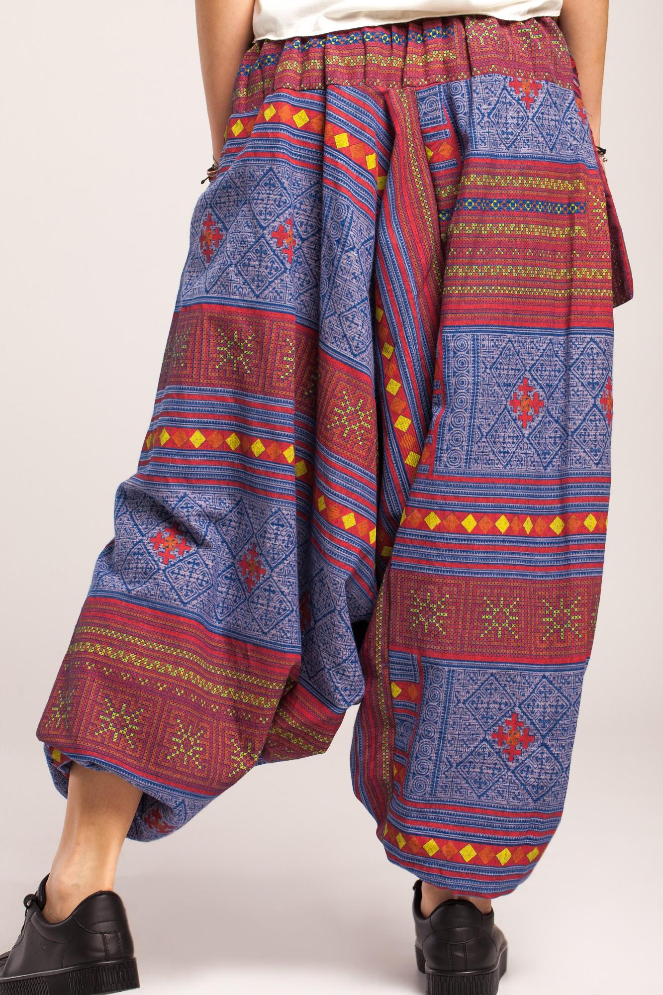 Salvari bumbac gros albastru denim cu imprimeu tribal si brau