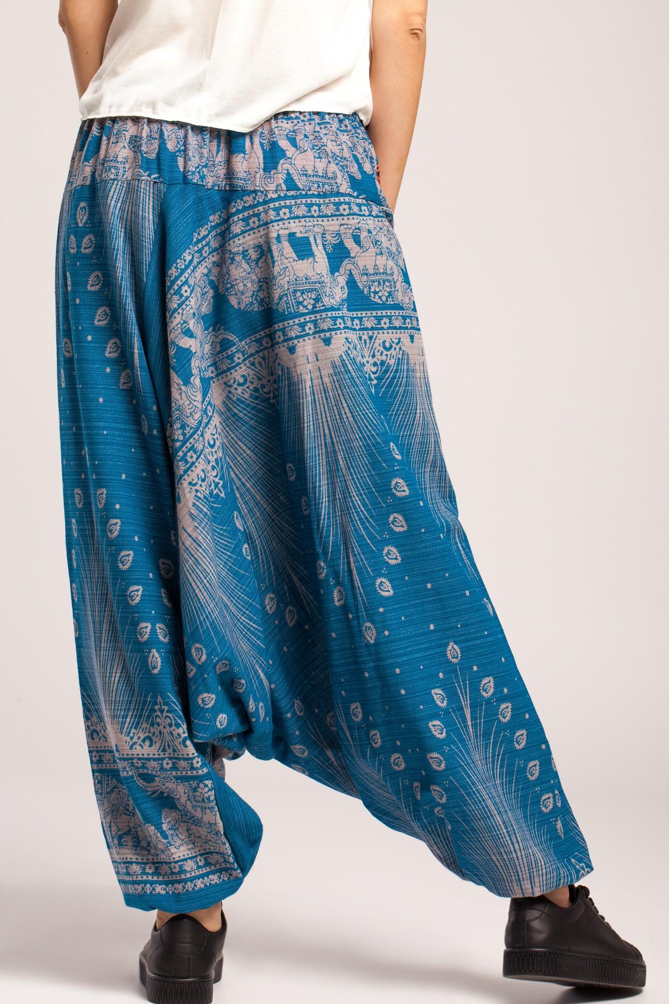 Salvari albastri din bumbac gros cu imprimeu coada de paun