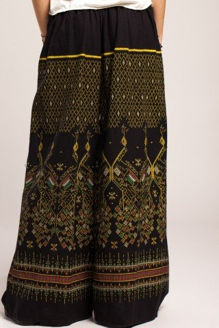 Pantaloni evazati din bumbac cu imprimeu etnic